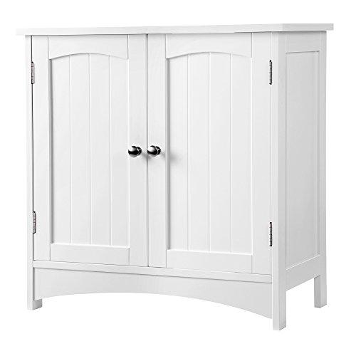 SONGMICS Waschbeckenunterschrank Unterschrank Badezimmerschrank viel Stauraum 2 Türen mit verstellbarer Einlegeboden weiß 60 x 60 x 30 cm ( B x H x T) BBC01WT