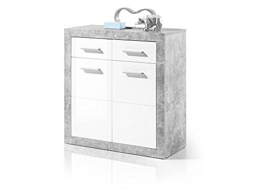 STELLA I Kommode Schubladenkommode Sideboard Regal Schubladenschrank Beton/weiss