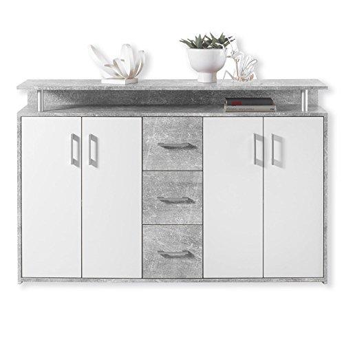 Sideboard DRIFT - Beton-weiß - 139 cm