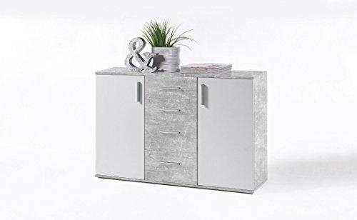 Sideboard beton/ weiss mit 4 Schubkästen und 2 Türen