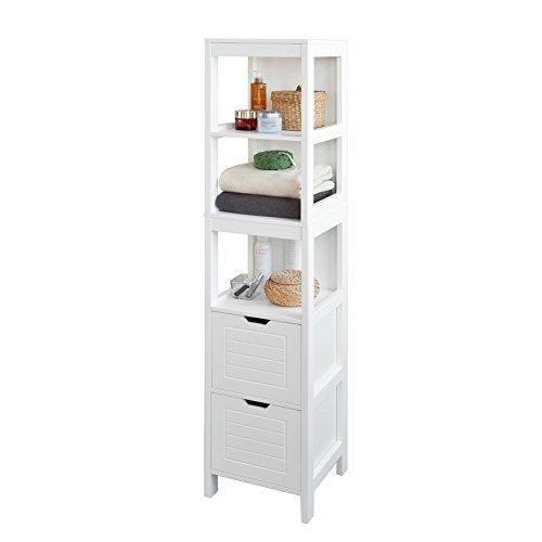 SoBuy® FRG126-W Badezimmer-Hochschrank für Bad Badregal Badmöbel weiß