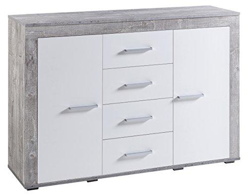 WILMES 70364-57 0 75 Sideboard, Holzwerkstoff, beton dekor front weiß, 120 x 35 x 88 cm