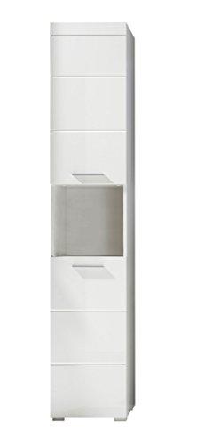 trendteam Badezimmer Hochschrank Schrank Amanda, 37 x 190 x 31 cm in Weiß Hochglanz mit offenen Fach und pflegeleichten Tiefzieh-Hochglanzfronten