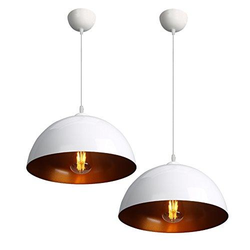 CCLIFE 2x Industrielle Vintage LED Pendelleuchte Hängeleuchte ? 30cm, E27 Leuchtmittel, Max 60w, für Wohnzimmer Esszimmer Restaurant Keller Untergeschoss, Schwarz und Weiß Wählbar, Farbe:Weiss