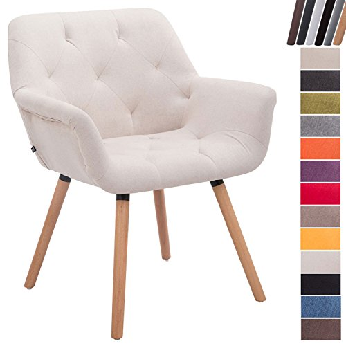 CLP Esszimmerstuhl CASSIDY mit Stoffbezug und sesselförmigem gepolstertem Sitz | Retro-Stuhl mit Armlehne und einer Sitzhöhe von 45 cm | Bis zu 150 kg belastbarer Polsterstuhl Beige, Gestellfarbe: Natura (Eiche)