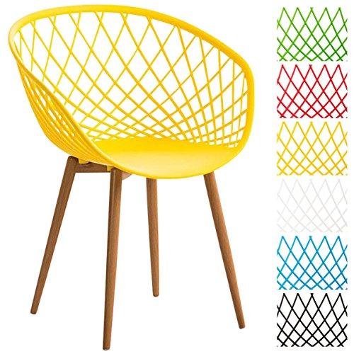 CLP-Esszimmerstuhl-MORA-mit-pflegeleichter-Kunststoff-Sitzschale-Retrostuhl-mit-Lehne-und-einem-Metallgestell-in-Holzoptik-Besucherstuhl-mit-Bodenschonern-und-einer-Sitzhhe-von-46-cm-Gelb-0