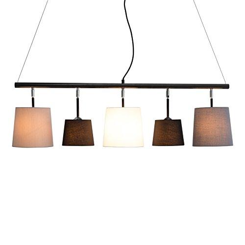Moderne Hängeleuchte LEVELS 145cm schwarz grau weiß Deckenlampe E14 Pendelleuchte Leinen