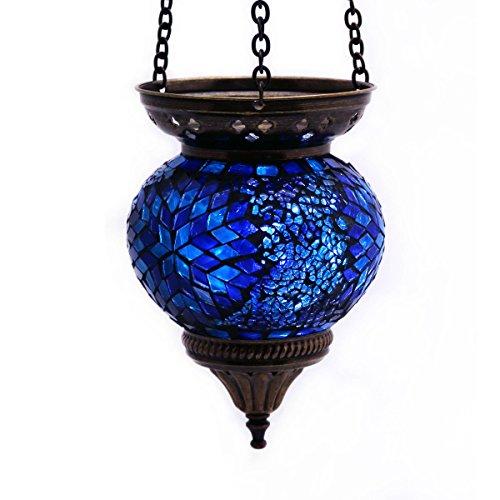 Mosaik-Lampe-Hngelampe-Windlicht-Pendelleuchte-Aussenleuchte-Deckenleuchte-aus-Glas-blau-Teelichthalter-Orientalisch-Handarbeit-dekoration-GallZick-0