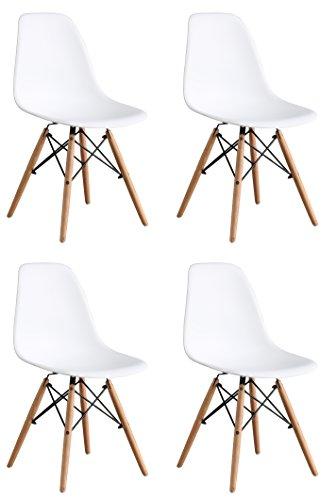 OYE-HOYE-Retro-Desigher-Stuhl-Esszimmersthle-Wohnzimmersthl-aus-Hochwertigem-Strapazierbarem-Kunststoff-und-Buchenholz-4er-Set-Wei-0