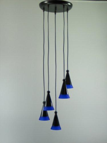 Pendelleuchte Fino 5 flammigschwarz, Glas blau Hängeleuchte Deckenlampe