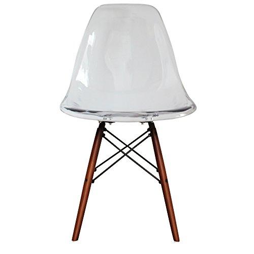 retro stuhl kunststoff mit holzbeinen skandinavischer stil beine aus walnussholz farblos h. Black Bedroom Furniture Sets. Home Design Ideas