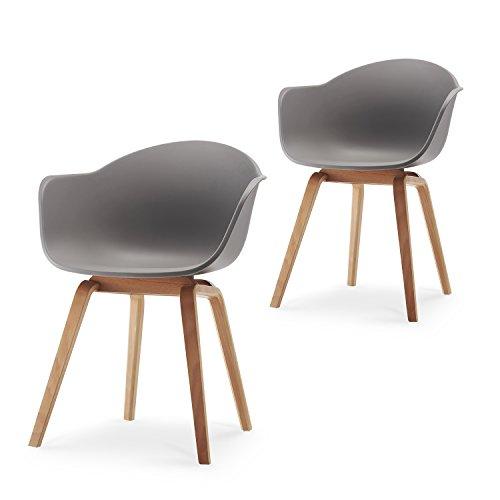 Romeo-Wohnzimmerstuhl-Esszimmerstuhl-2er-set-Grau-Polypropylen-und-Buchenholz-retro-design-Stuhl-fr-Bro-Lounge-Kche-Wohnzimmergrey-Grau-0