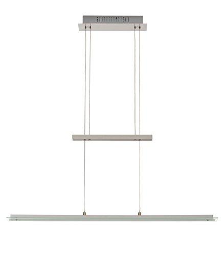 Trango® Design LED Pendelleuchte, Esstischleuchte höhenverstellbar - Edelstahl-Look (Edelstahl-Look-TG2013-042)