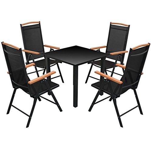 vidaXL-Essgruppe-Alu-Schwarz-5-tlg-Sitzgruppe-Gartenmbel-Gartenset-Lounge-0
