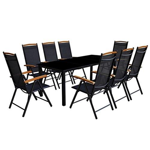 vidaXL Essgruppe Alu Schwarz 9-tlg. Sitzgruppe Gartenmöbel Lounge Gartenset