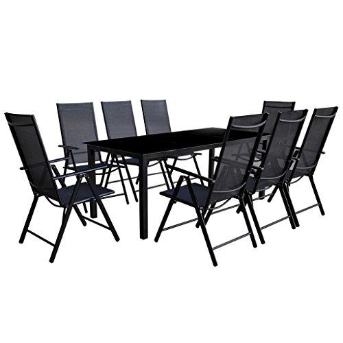 vidaXL-Essgruppe-Alu-Schwarz-9-tlg-Sitzgruppe-Gartenmbel-Lounge-Gartenset-0