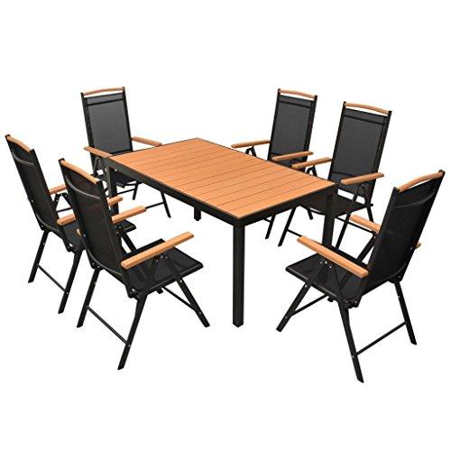 vidaXL Essgruppe WPC 7-tlg. Sitzgruppe Gartenmöbel Lounge Gartenset Garnitur