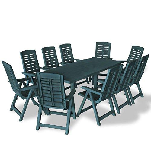 vidaXL-Gartenmbel-11-tlg-Grn-Sitzgruppe-Essgruppe-Gartengarnitur-Gartenset-0