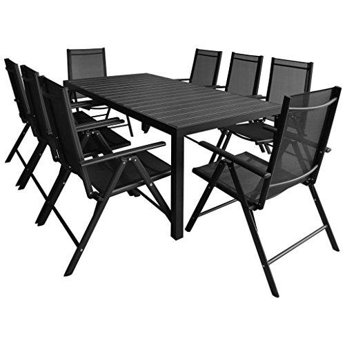 vidaXL-Gartenmbel-9tlg-Alu-WPC-Sitzgruppe-Gartenset-Gartengarnitur-Essgruppe-0