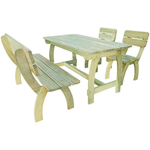 vidaXL-Holz-Gartenset-Gartenmbel-Essgruppe-Sitzgruppe-Bank-Stuhl-Kiefernholz-0