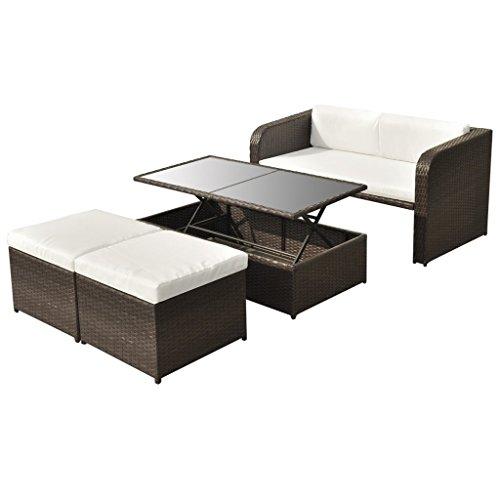 vidaXL Poly Rattan Gartenmöbel 9-tlg. Essgruppe Lounge Sitzgruppe Gartenset