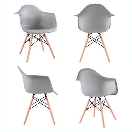 Lot von 4 Esszimmerstuhl, EGGREE Retro Stuhl Beistelltisch mit solide Buchenholz Bein - Grau
