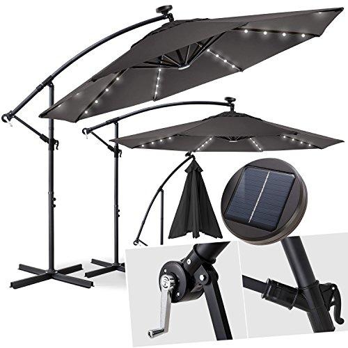 Kesser Alu Ampelschirm Ø 300 cm✔LED ✔mit An-/Ausschalter ✔Solarpanel ✔ Kurbelvorrichtung ✔UV-Schutz ✔Aluminium ✔wasserabweisende Bespannung - Sonnenschirm Schirm Gartenschirm Marktschirm Grau