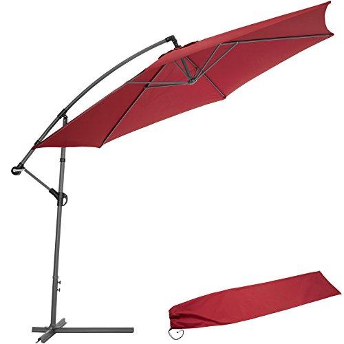TecTake Sonnenschirm Ampelschirm mit Metallgestell + UV Schutz 350cm rot + Schutzhülle