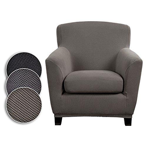 Bellboni Couchhusse für Einsitzer Couchsessel oder Loungesessel, Sofabezug, bi-elastische Stretchhusse, Spannbezug für viele gängige Einer Sessel, grau