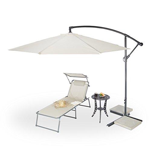Relaxdays Gartenschirm 3m Durchmesser, Stahlmast 38mm, stabile Rippen, Polyester, Neigefunktion, natur