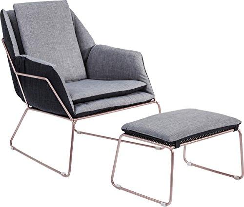 Kare Sessel mit Hocker Space, Andere, Grau, 77 x 76 x 70 cm