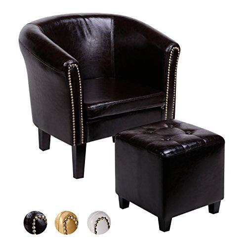 CCLIFE Chesterfield Loungesessel mit Fussteil Clubsessel Cocktailsessel Kunstleder Sessel Relaxsessel Braun/Weiss/Gold, Farbe:Braun