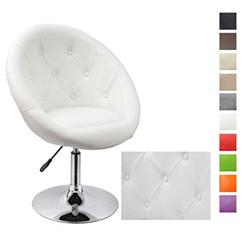 Duhome Elegant Lifestyle® Sessel WEISS höhenverstellbar Kunstleder Clubsessel Coctailsessel Loungesessel - TYP 509A