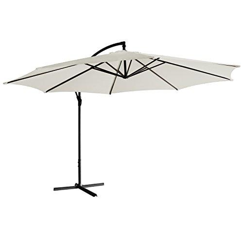 Sonnenschirm freischwebend in 7 Farben - Jalano Ampelschirm 350 cm Durchmesser, Gartenschirm inkl. Schutzhülle und Fusskreuz - höhenverstellbarer Kurbelschirm (Weiß)