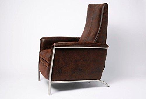 Relaxsessel Lazy Vintage, moderner, bequemer Fernsehsessel mit Liegefunktion, TV Chillout Loungesessel im Vintage-Stil, Design Polstersessel, braun (H/B/T) 104x72x91cm