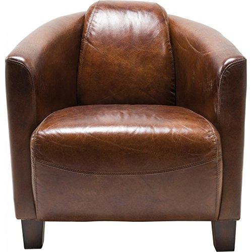 Kare Sessel Cigar Lounge, Braunes Echtleder, bequemer TV-/Couch-/Chill Sessel im Retro-Design, Relaxsessel zum Lesen, (H/B/T) 70x72x83cm