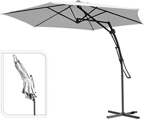 Sonnenschirm mit Easy Flap Hebeltechnik - weiß - wasserabweisender Ampelschirm - Gartenschirm mit Lüftungsschlitz
