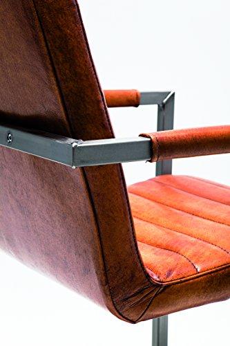 Freischwinger Riffle Buffalo Brown, moderner Esszimmerstuhl mit Armlehne im Retro-Design, bequemer Echtlederpolsterstuhl, braun, (H/B/T) 85x55x61cm