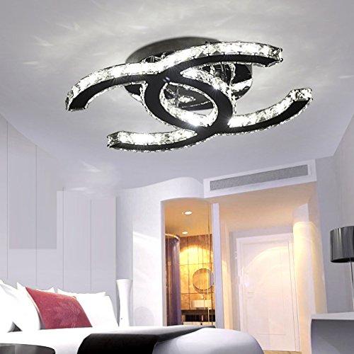 28W LED Deckenleuchte Moderne Einfache Romantische Wohnzimmer Esszimmer K9 Crystal Klar Deckenlampe Elegante Edelstahl Spiegel Lampe Creative Studie Deckenbeleuchtung L53cm * W40cm (Dimmbar 3000K-6000K)