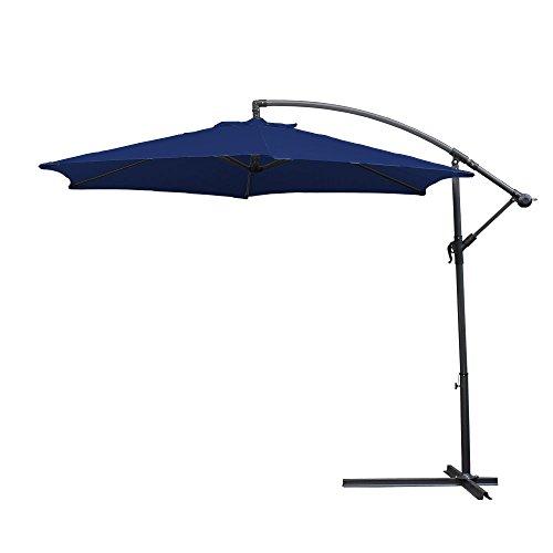 Hengda® 3.0m Blau Sonnenschirm Garten Schirm Marktschirm Ampelschirm Kurbel Schirm für Garten, Terrasse, Loggia, Balkon, Camping-Platz, Pool, Planschbecken