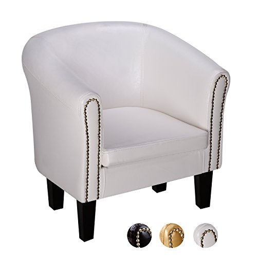 CCLIFE Chesterfield Sessel Loungesessel Clubsessel Cocktailsessel Kunstleder Relaxsessel Farbe Braun/Weiss/Gold, Farbe:Weiss