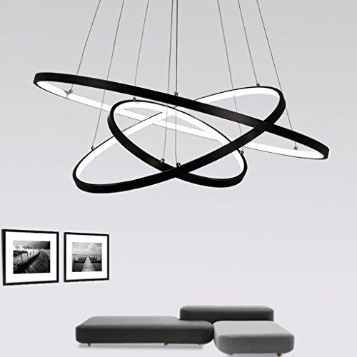 72W LED Pendelleuchte Esstisch Modern Drei Ring Design Lampe Innen Beleuchtung Hängelampe Acryl Kreative Leuchte Einfache Dekoration Kronleuchter für Wohnzimmer Esszimmer Dimmbar Stufenlos Lüster , Schwarz