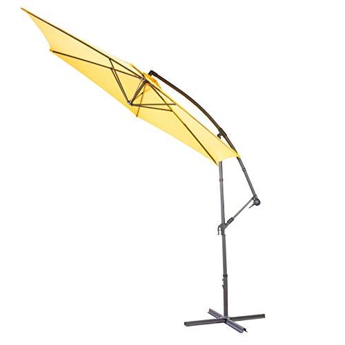 Ampelschirm Ø 300 cm gelb sechseckig, Sonnenschirm mit Aluminium Gestell in grau, Bespannung Wasserabweisend 180g/m2 Polyester, 12 kg