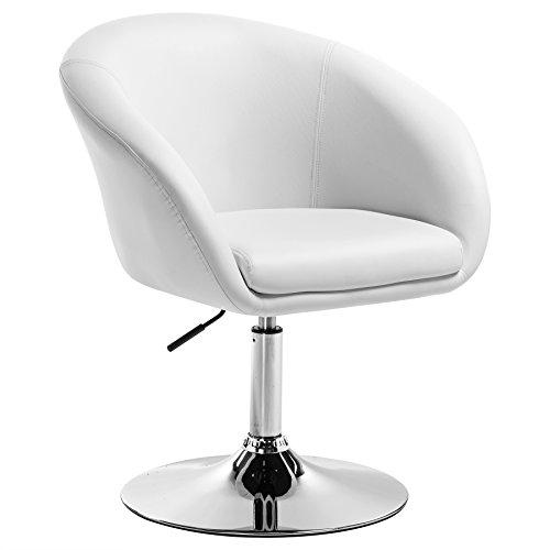 WOLTU BH24ws-1 Barsessel 1er Set, stufenlose Höhenverstellung, verchromter Stahl, Kunstleder, Gut Gepolsterte Sitzfläche mit Armlehne und Rücklehne, Weiß