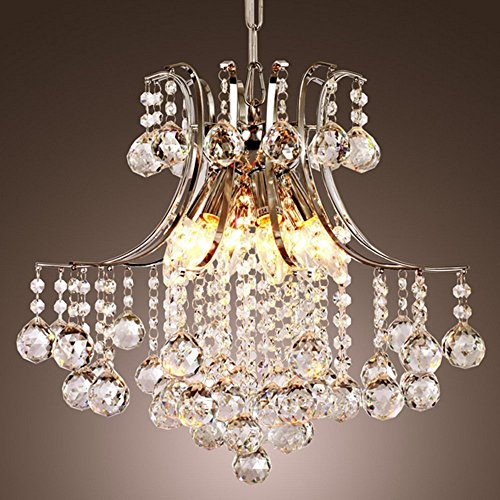 Glighone Kronleuchter Kristall Deckenleuchte Modern Hängeleuchte Anhänger Kristallkronleuchter mit 6 Lichtern für Wohnzimmer, Schlafzimmer, Esszimmer, Arbeitszimmer, Foyer usw.