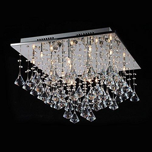 Glighone LED Kristall Deckenleuchte Modern Kronleuchter Deckenlampe Romantisch Anhänger Kristallkronleuchter 16x G4 Leuchtmittel für Wohnzimmer Schlafzimmer Esszimmer Restaurant Hotel Villa Flur...