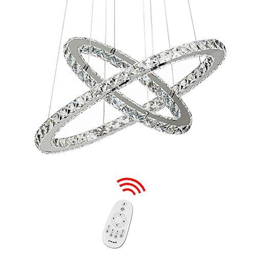 HJ® 60W 2 Ringe LED Designleuchte Dimmbar Mit Fernbedienung Kristall Design Wohnzimmer Hängeleuchte Deckenleuchte Kreative Deckenlampe Kronleuchter Wohnraum Pendelleuchte Esszimmer Schlafzimmer Lüster