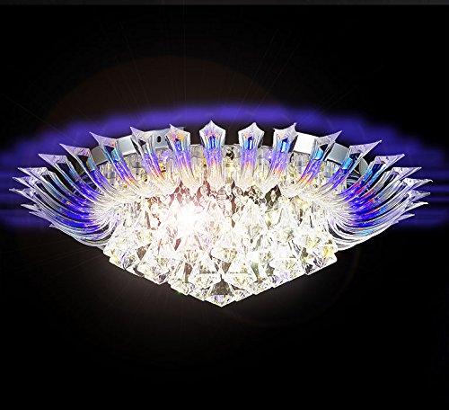 Led Farbwechsel Led Kristall Deckenleuchte Kronleuchter Deckenlampe Leuchte Lüster für Wohnzimmer 55cm Durchmesser 6x G9 inkl. Led Leuchtmittel und Fernbedienung