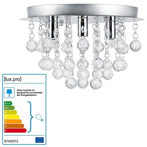 Lüster Deckenleuchte / Deckenlampe - Trio - von [lux.pro]® - Modernes Design: Kron-leuchter aus Chrom, Metall & Kunst-Kristall - Ø 28 cm Leuchte - 3 x G9 Sockel - für Wohnzimmer & Schlafzimmer
