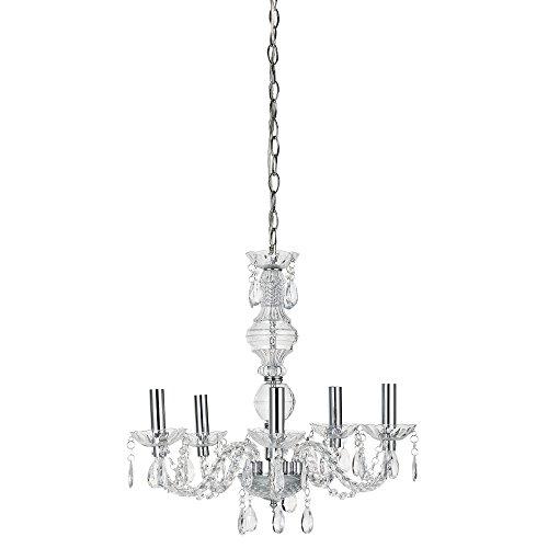 Lüster/Kronleuchter von [lux.pro]® - Modernes Design: verchromte Decken-Leuchte aus Metall & Kunst-Kristall - Ø 52 cm Leuchte - 5 x E14 Sockel - stilvolle Deckenlampe für Wohnzimmer & Schlafzimmer
